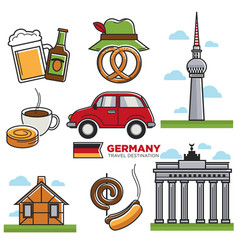 german traditional symbols colorful set on vector image