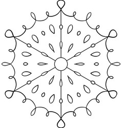 outline circular snowflake ornament coloring page vector image
