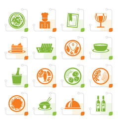 Stylized restaurant food and drink icons vector
