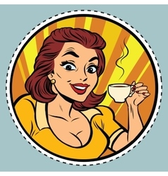 Comic young beautiful woman drinking coffee vector image vector image