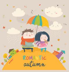 cute couple with an umbrella in the autumn rain vector image