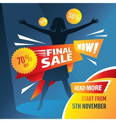 Final sale poster with girl silhouette vector