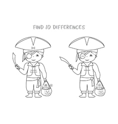 Halloween spot the difference game for kids vector image