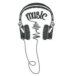 headphones t-shirt graphic tee print vector image