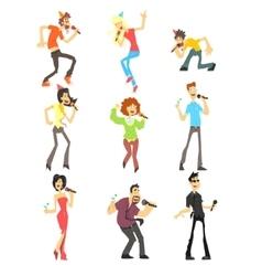 People Singing Karaoke Set vector image vector image