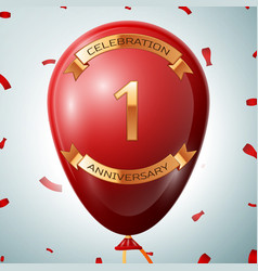 red balloon with golden inscription one years vector image