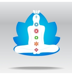 silhouette of meditating person in lotus vector image vector image