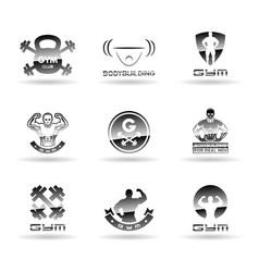 Bodybuilding icons set vector image