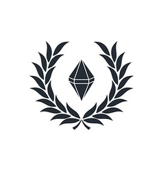 diamond inside wreath vector image vector image