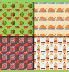 Healthy food seamless pattern diet dinner lunch vector