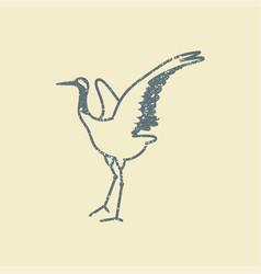 japanese crane bird icon vector image vector image