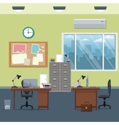office workspace desks cabinet board notice clock vector image