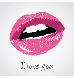 pink lips with love message vector image