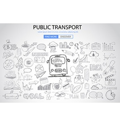 Public Transports concept wih Doodle design style vector image