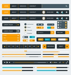 Set of flat design UI elements for website and vector image