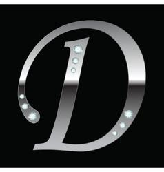silver metallic letter D vector image vector image