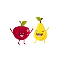 Apple And Pear Cartoon Friends vector image