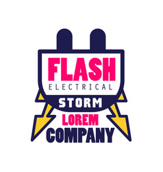 flash electrical storm company logo template vector image vector image