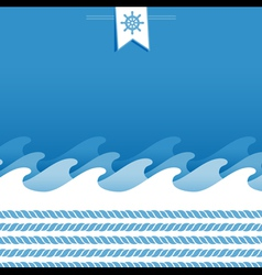 marine background with sea wave and ropes vector image vector image