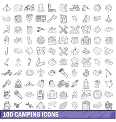 100 camping icons set outline style vector image