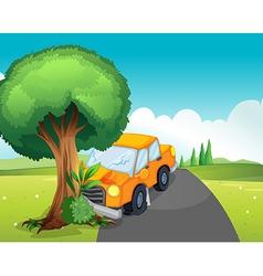 A car crash at the road with a big tree vector