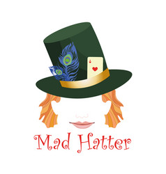 Abstract mad hatter head wearing hat decorated vector