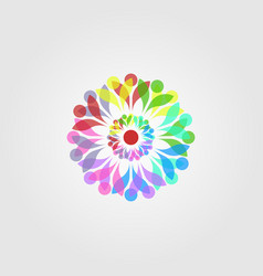 Abstract overlapping colorful flower mandala vector