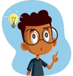 African male student having a clever idea vector