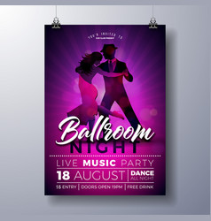 Ballroom night party flyer with vector