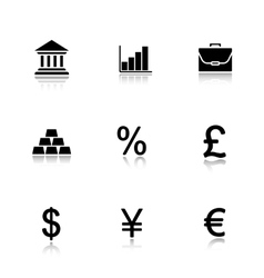 Bank drop shadow icons set vector image