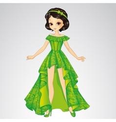 Beauty Princess In Green Dress vector