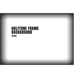 black halftone dots texture frame on white vector image