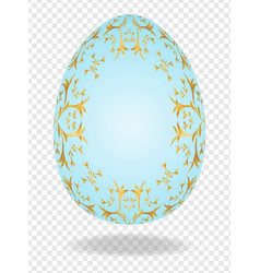 blue painted easter 3d egg with a golden pattern vector image