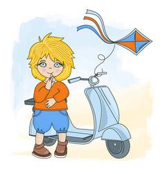 boy kite cartoon set for print vector image