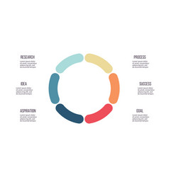 business infographics circle with 6 parts steps vector image