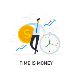 Businessmen hold a huge dollar coin relies vector