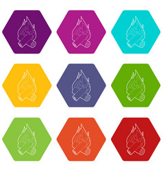 campfire icons set 9 vector image