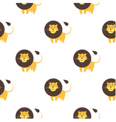cartoon lion seamless pattern on white background vector image
