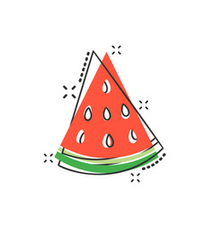 cartoon watermelon fruit icon in comic style ripe vector image