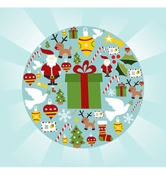 Christmas icon set in circle shape vector image
