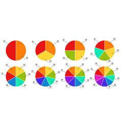 circular diagrams segmented and multicolored pie vector image