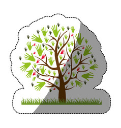 Color silhouette sticker of tree with leaves in vector