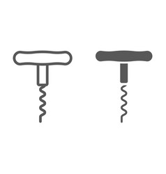 corkscrew line and glyph icon kitchen vector image