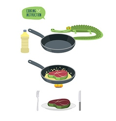 Crocodile steak cooking Instructions Recipe for vector image