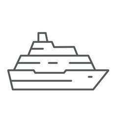 cruise ship thin line icon travel and tourism vector image