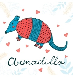Cute armadillo character vector