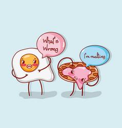 Cute food cartoon joke vector