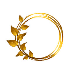Decorative frame with leaves made in gold color vector