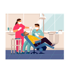 dentist checkup cartoon patient at doctor office vector image