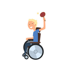 Disabled man playing table tennis rehabilitation vector